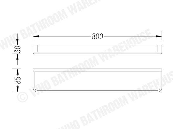 Victor 800mm Single Towel Rail Accessory (Chrome) - 13521