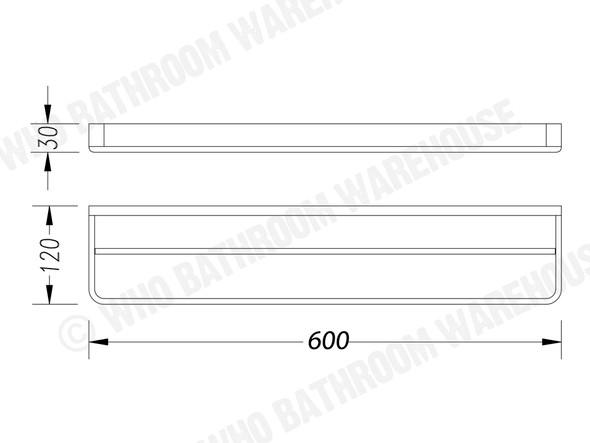 Victor 600mm Double Towel Rail Accessory (Chrome) - 13529