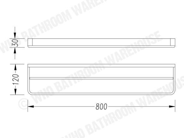 Victor 800mm Double Towel Rail Accessory (Chrome) - 13530