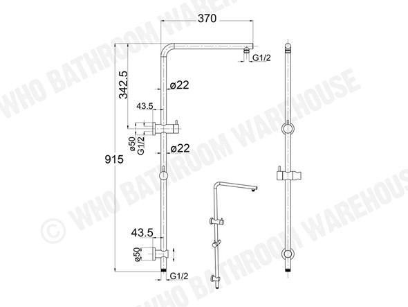 Samantha II Combination Shower Rail Set Tap (Black) - 13677