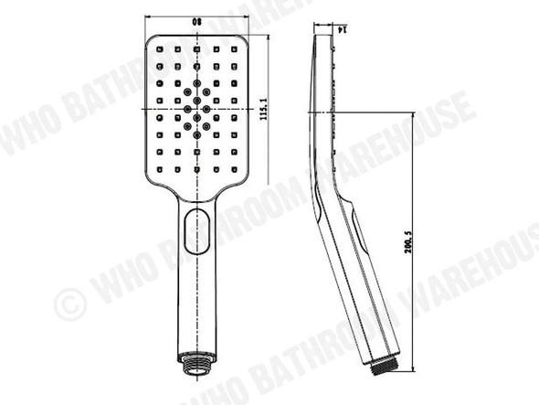 Griffin Three Function Black Hand Shower Tap (Black Matt) - 13776