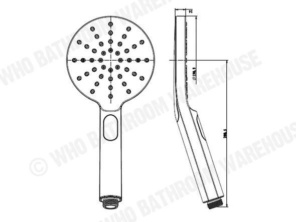 Josephine Three Function Black Hand Shower Tap (Black Matt) - 13778