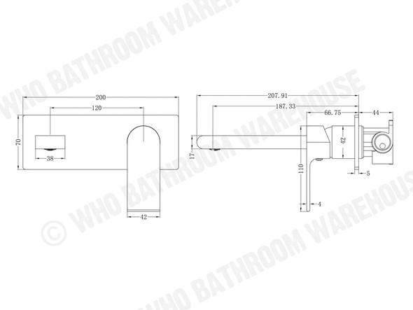 Vitra Combo Wall Basin Mixer Tap (Chrome) - 13330