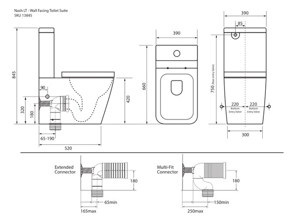Nash LT S or P Trap Wall Faced Toilet (White Gloss) - 13845