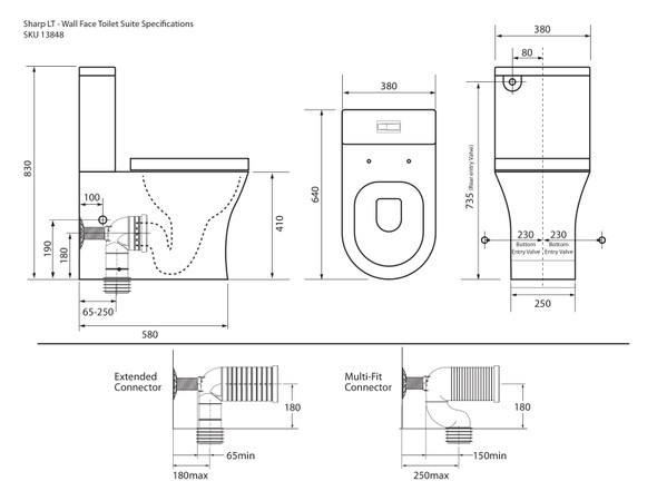 Sharp LT S or P Trap Wall Faced Toilet (White Gloss) - 13848