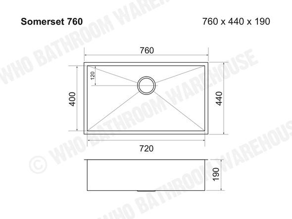 Somerset 760 Kitchen Sink/Trough (Gunmetal) - 13855