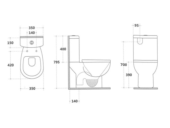 Gear CE S Trap Close Coupled Toilet (White Gloss) - 13863
