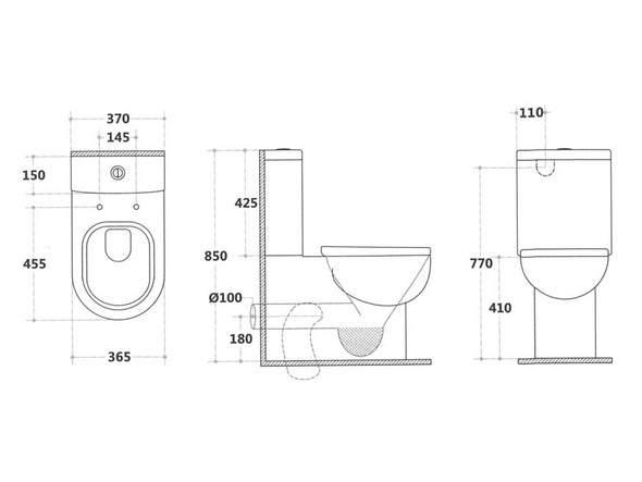 Neilsen CE S or P Trap Wall Faced Toilet (White Gloss) - 13867