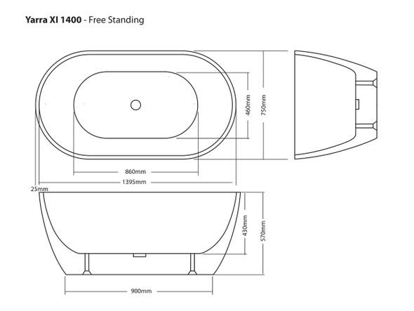 Yarra XI 1400 Free Standing Bath (White) - 13873