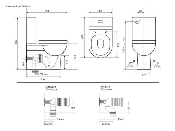 Anderson LT S or P Trap Wall Faced Toilet (White Gloss) - 13905