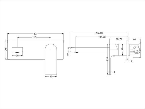 Vitra Combo Wall Basin Mixer Tap (Gun Metal Grey) - 13951