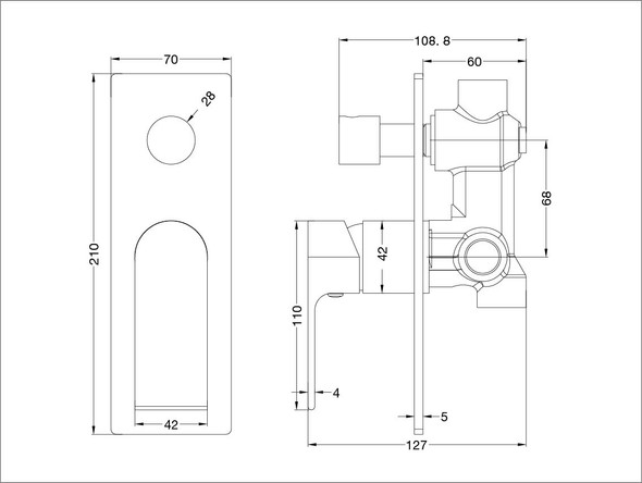 Vitra Diverter Wall Mixer Tap (Gun Metal Grey) - 13954