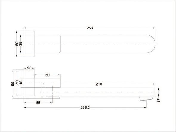 Ecco/Vitra Swivel Bath Spout Tap (Brushed Nickel) - 13979