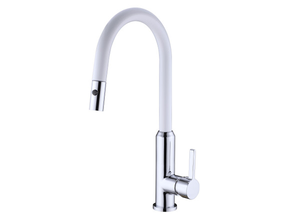 Pearl Pull Out Spray Kitchen Mixer Tap (White) - 13989