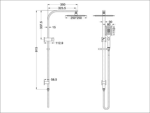 Celia Combo Top Inlet Shower Rail Set Tap (Chrome) - 13992