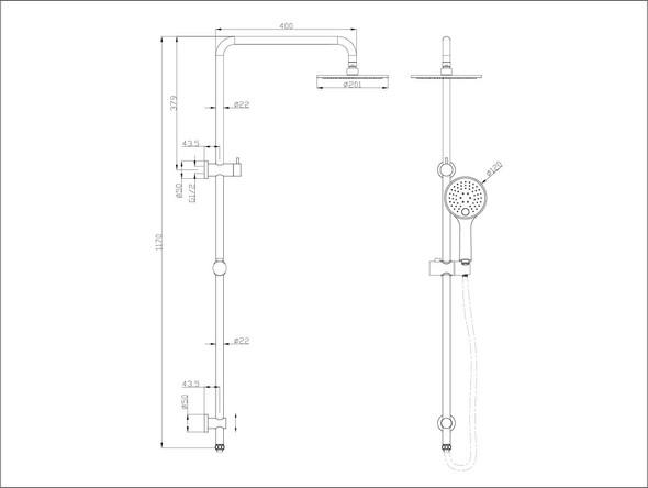 Dolce  Shower Rail Set Tap (Chrome) - 13994