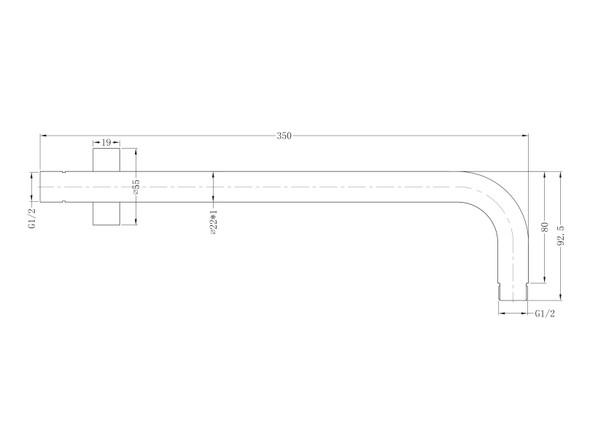 Round  Shower Arm Tap (Gun Metal Grey) - 14013
