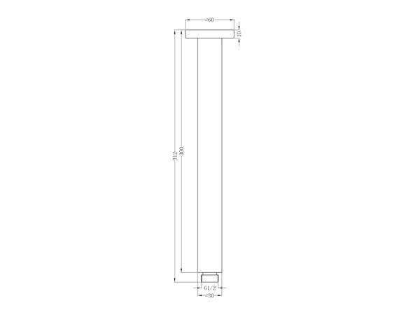 Round 300mm Ceiling Dropper Tap (Matt Black) - 14014