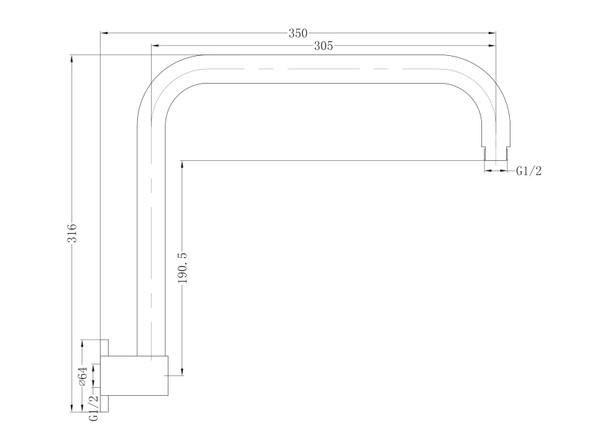 Dolce  Shower Arm Tap (Matt Black) - 14023