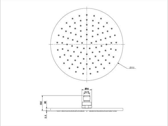 Round 250mm Shower Head Tap (Brushed Nickel) - 14026