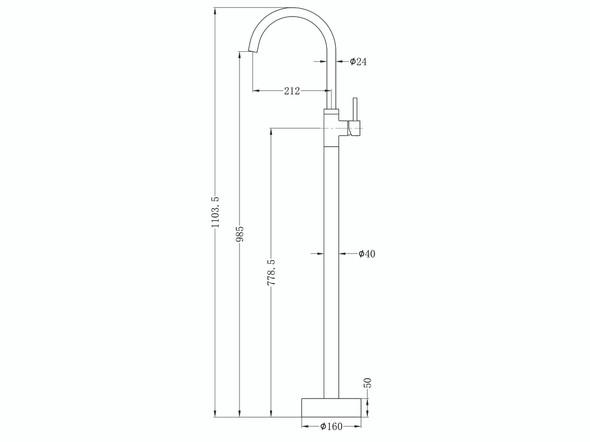 Dolce Floor Standing Bath Mixer Tap (Brushed Nickel) - 14032