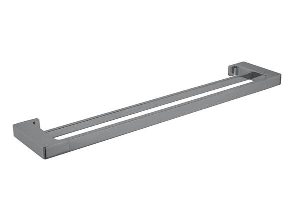Pearl/Vitra 600mm Double Towel Rail Accessory (Gun Metal Grey) - 14055