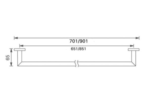 Dolce 700mm Single Towel Rail Accessory (Matt Black) - 14083