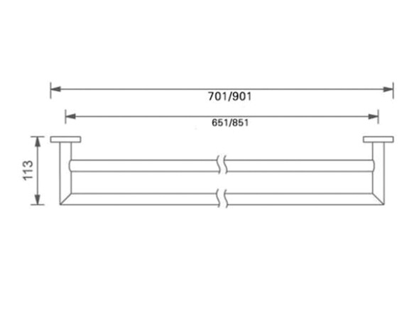 Dolce 700mm Double Towel Rail Accessory (Matt Black) - 14084