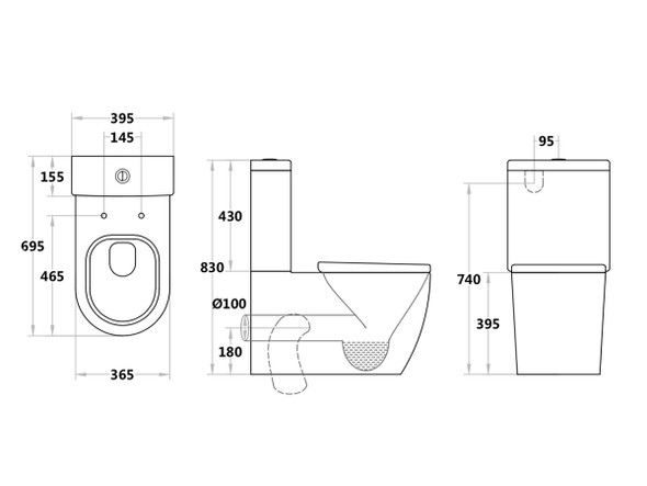 Jeffrey CE Black S or P Trap Wall Faced Toilet (Black) - 14094