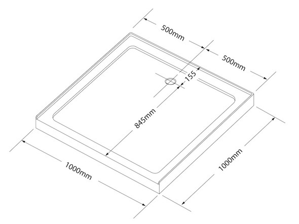 Project Square LP Shower Base Shower Screen 1000mm (White) - 12436