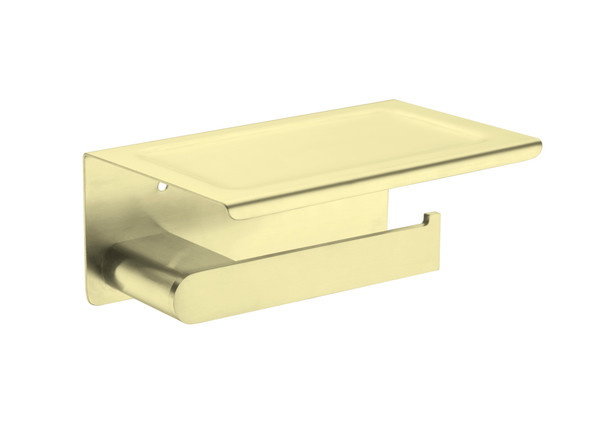 Bianca Phone Tray Toilet Roll Holder Accessory (Brushed Gold) - 14162