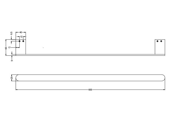 Bianca 600mm Single Towel Rail Accessory (Chrome) - 14172