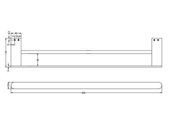 Bianca 600mm Double Towel Rail Accessory (Chrome) - 14174