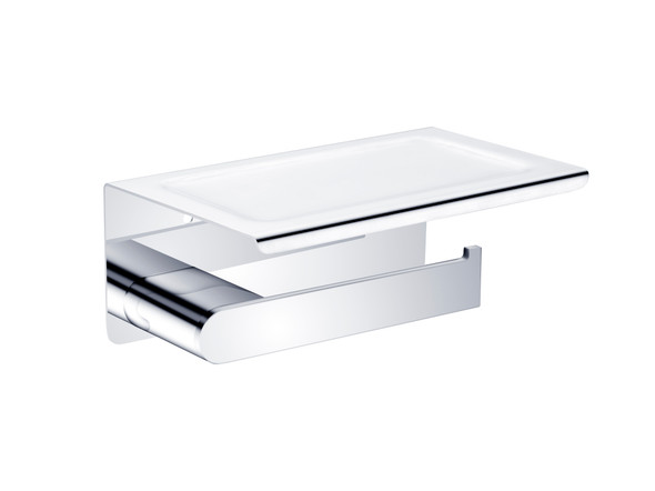 Bianca Phone Tray Toilet Roll Holder Accessory (Chrome) - 14178