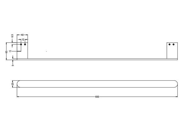 Bianca 600mm Single Towel Rail Accessory (Gun Metal Grey) - 14184