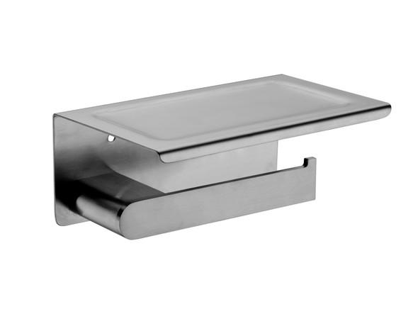 Bianca Phone Tray Toilet Roll Holder Accessory (Gun Metal Grey) - 14190