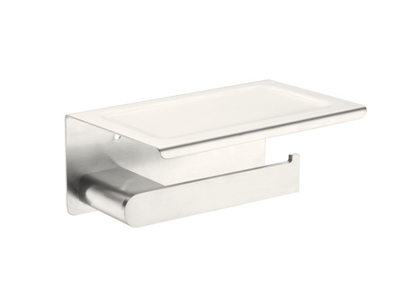 Bianca Phone Tray Toilet Roll Holder Accessory (Brushed Nickel) - 14202