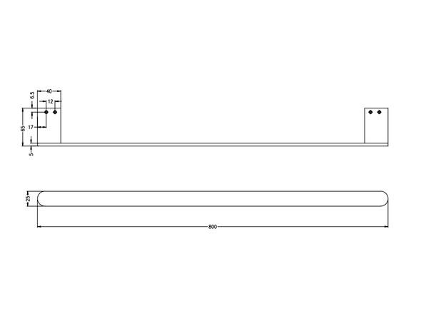 Bianca 800mm Single Towel Rail Accessory (Matt Black) - 14209