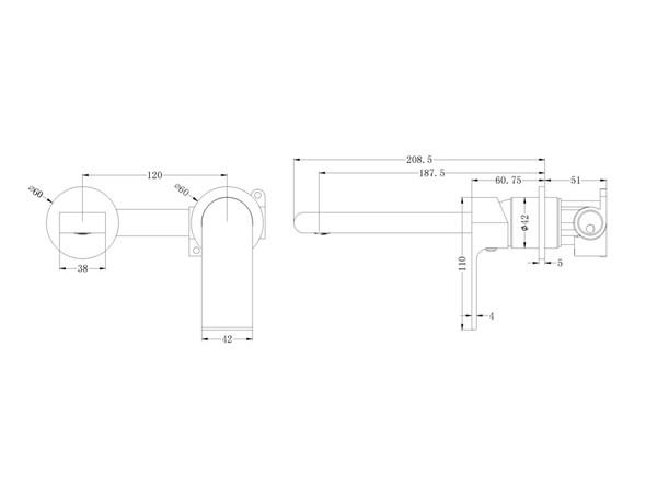 Vitra Two Piece Wall Mixer & Spout Tap (Matt Black) - 14240