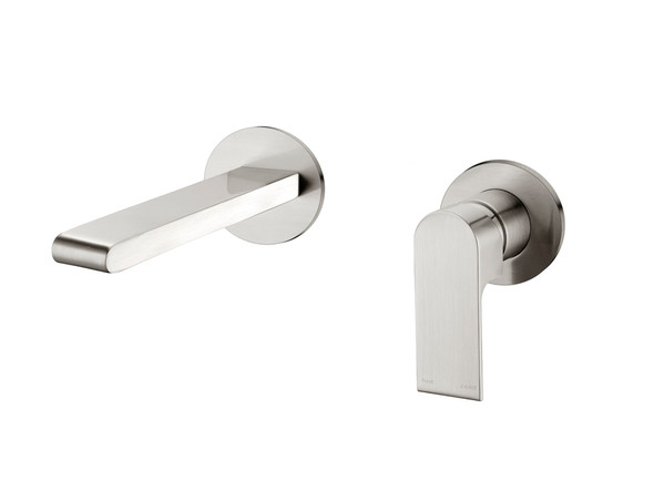 Vitra Two Piece Wall Mixer & Spout Tap (Brushed Nickel) - 14241