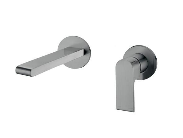 Vitra Two Piece Wall Mixer & Spout Tap (Gun Metal Grey) - 14242