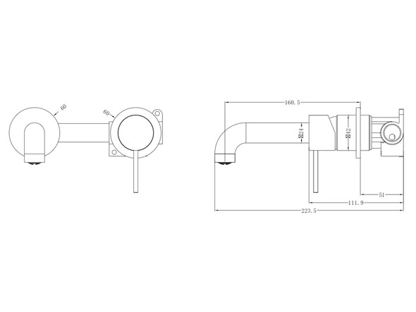 Mecca Two Piece Wall Mixer & Spout Tap (Matt Black) - 14246