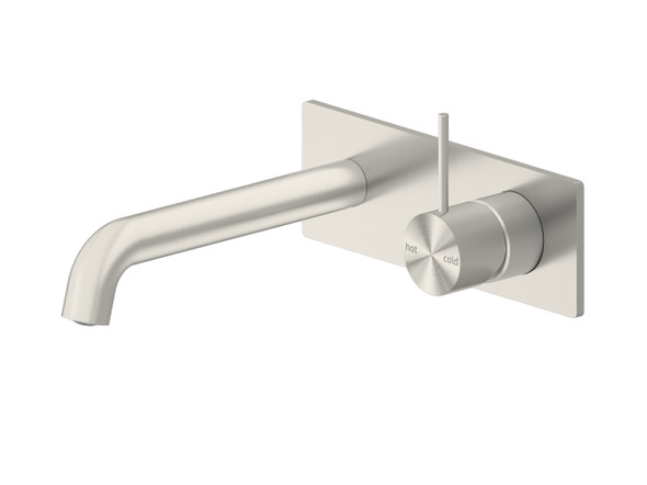 Mecca 160mm Combo Top Lever Wall Basin Mixer Tap (Brushed Nickel) - 14256