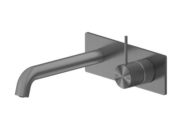 Mecca 160mm Combo Top Lever Wall Basin Mixer Tap (Gun Metal Grey) - 14257