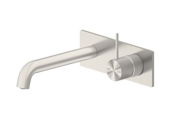 Mecca 185mm Combo Top Lever Wall Basin Mixer Tap (Brushed Nickel) - 14261