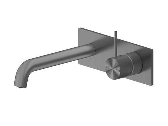 Mecca 185mm Combo Top Lever Wall Basin Mixer Tap (Gun Metal Grey) - 14262
