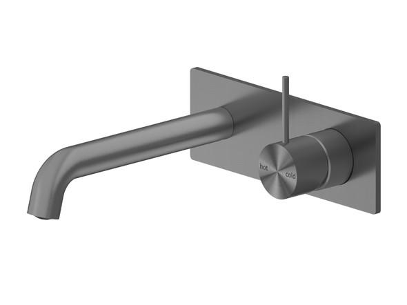Mecca 230mm Combo Top Lever Wall Basin Mixer Tap (Gun Metal Grey) - 14267