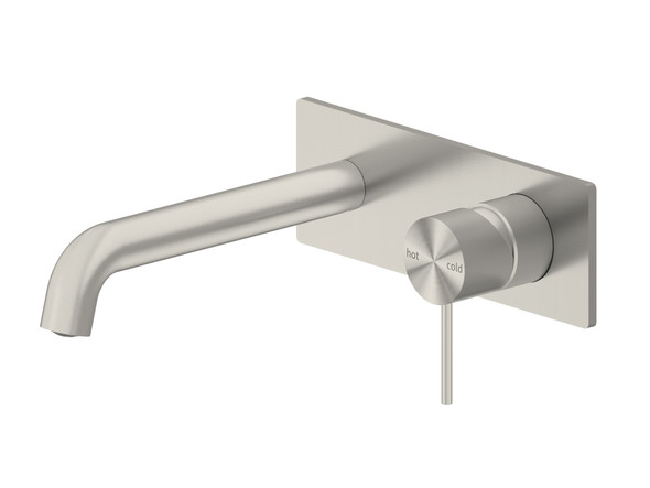 Mecca 160mm Combo Bottom Lever Wall Basin Mixer Tap (Brushed Nickel) - 14270