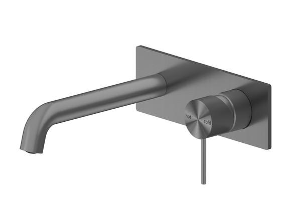Mecca 160mm Combo Bottom Lever Wall Basin Mixer Tap (Gun Metal Grey) - 14271