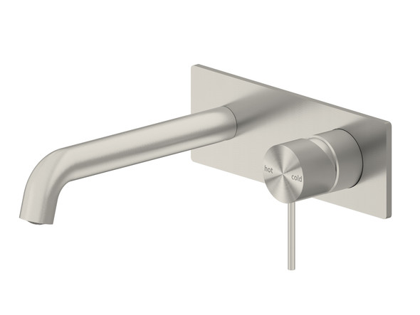 Mecca 185mm Combo Bottom Lever Wall Basin Mixer Tap (Brushed Nickel) - 14274